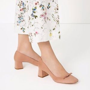 ZARA PINK MID HEEL SHOES WITH BOW DETAIL